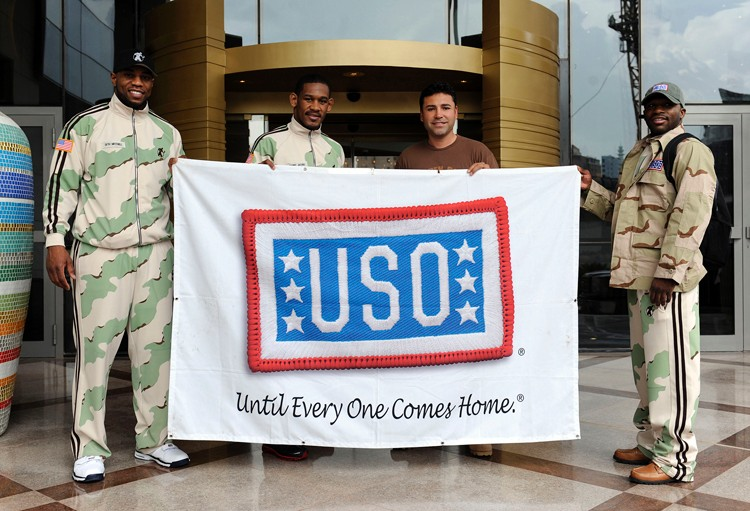 From Left to Right: Seth Mitchell, Danny Jacobs, Oscar de la Hoya & Adrien Broner visit the troops in the Middle East on the USO Tour.