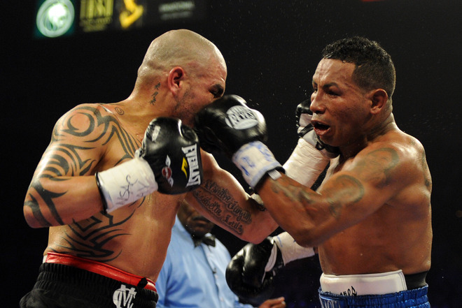 Miguel Cotto (L) from Puerto Rico fights