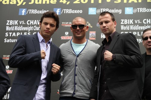 Julio Cesar Chavez Jr., Tommy Zbikowski and Sebastian Zbik. Photo by Maria Hedrick