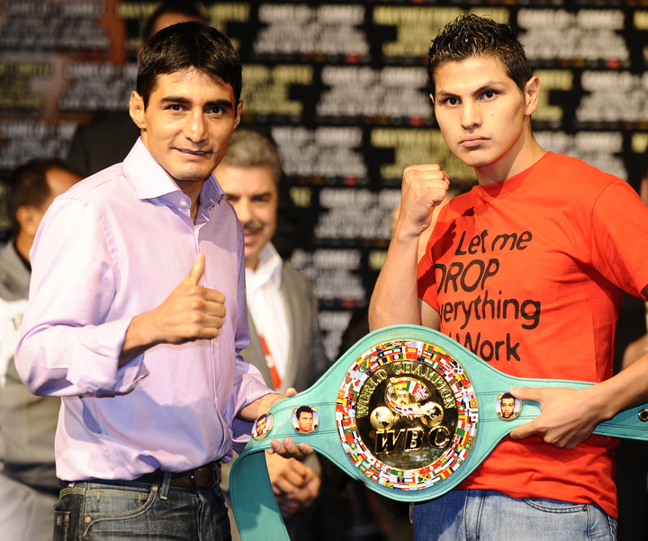 Erik Morales and Pablo Cesar Cano pose on September 14, 2011 in Las Vegas, Nevada at the final press conference for their September 17, 2011 fight. Photo by Gene Blevins/HoganPhotos