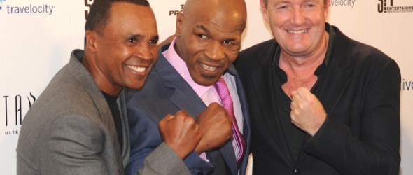 Sugar Ray Leonard, Mike Tyson and Piers Morgan pose on the red carpet for the Mike Tyson: Undisputed Truth-Live on Stage