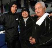 Mikey Garcia(L) poses with brother/trainer Robert Garcia(ctr) and father/trainer Eduardo Garcia(R) during training for his upcoming world title fight against WBO World Featherweight champion Orlando Salido, Saturday, Jan 19. Photo by  Chris Farina