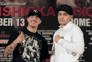 Rios and Alvarado pose at a news conference to announce their upcoming match against in Los Angeles