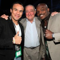 "Juan Manuel Marquez, Bob Arum and Timothy Bradley Jr. pose during the  Brandon ""Bam Bam"" Rios  vs Mike Alvarado fight."