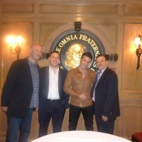 L-R: Lou DiBella, Nathan Lewkowicz, Sergio Martinez & Sampson Lewkowicz as NYC's famed Friar's Club