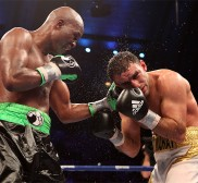 Bernard Hopkins (Left) lands a left hand en route to a unanimous decision victory against Karo Murat (Right) on October 26, 2013 in Boardwalk Hall in Atlantic City, New Jersey. Photos by Tom Hogan - Hoganphotos