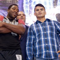 Undefeated WBA Welterweight World Champion Adrien Broner (Left) and former WBA Intercontinental Welterweight Champion Marcos Maidana (Right) pose on October 31, 2013 in San Antonio, Texas at the press conference to officially announce their Decemebr 14, 2013 world title fight at the Alamodome in San Antonio, Texas which will be televised live on SHOWTIME. Photos by Tom Hogan